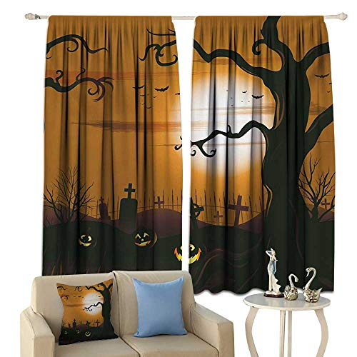 clayee Blackout Curtains Halloween Leafless Creepy Tree with Twiggy Branches at Night in Cemetery Graphic Drawing Privacy Protection Brown Tan ()