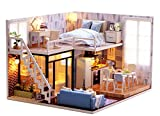 Venkary DIY Dollhouse Miniatures Kit Wooden House with LED for Kids Birthday, children's Day, Halloween, Christmas and New Year Best Gift
