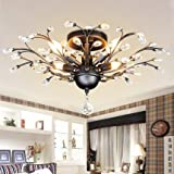 SEOL-LIGHT Vintage Crystal Chandeliers Black Ceiling Light Flush Mounted Fixture With 4 Light 240W