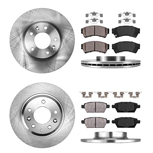 FRONT 299 mm + REAR 280 mm Premium OE 5 Lug [4] Rotors + [8] Quiet Low Dust Ceramic Brake Pads + Clips