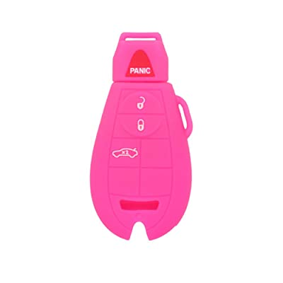 SEGADEN Silicone Cover Protector Case Skin Jacket fit for DODGE JEEP CHRYSLER 4 Button Smart Remote Key Fob CV4752 Rose: Automotive