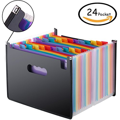Accordion Folder 24 Pockets, Casaon A4 Expanding File Folders, High Capacity Multicolour Stand Portable Alphabetical File Organizer , Filing Folders for Business/Office/Study/ Paperwork/Tax