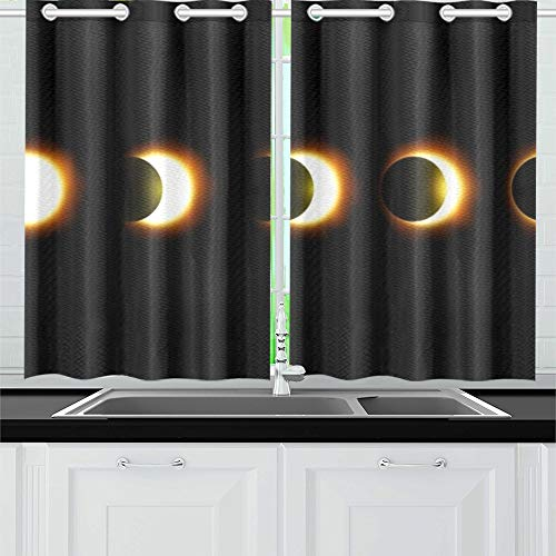 (YUMOING Different Phases Solar Lunar Eclipse Kitchen Curtains Window Curtain Tiers for Café, Bath, Laundry, Living Room Bedroom 26 X 39 Inch 2 Pieces)