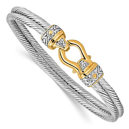 Sonia Jewels Sterling Silver Flash Gold-Toned Antique-Style Double Strand Hook Bangle Bracelet 7
