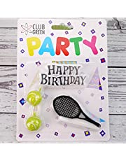 Club Green Happy Birthday, 2 balles de Tennis de Raquette, 1 Kit de Bougie, Jaune