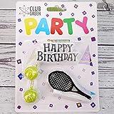 Velas de Club Green con vela de «feliz cumpleaños», 2 pelotas de tenis y 1 raqueta, color amarillo