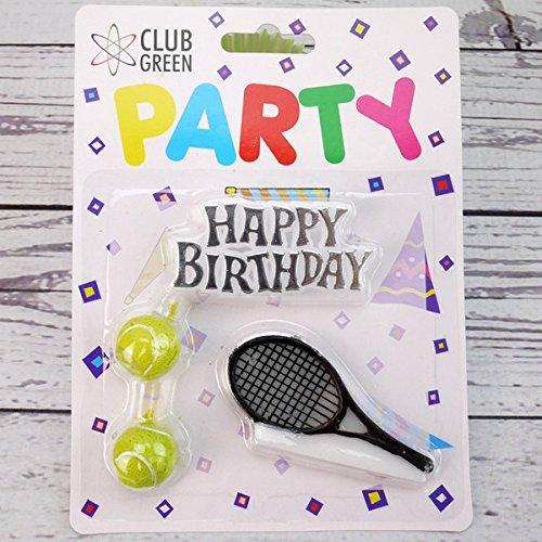 Club Green Velas Vela de «Feliz cumpleaños», 2 Pelotas de Tenis y 1 Raqueta, Color Amarillo
