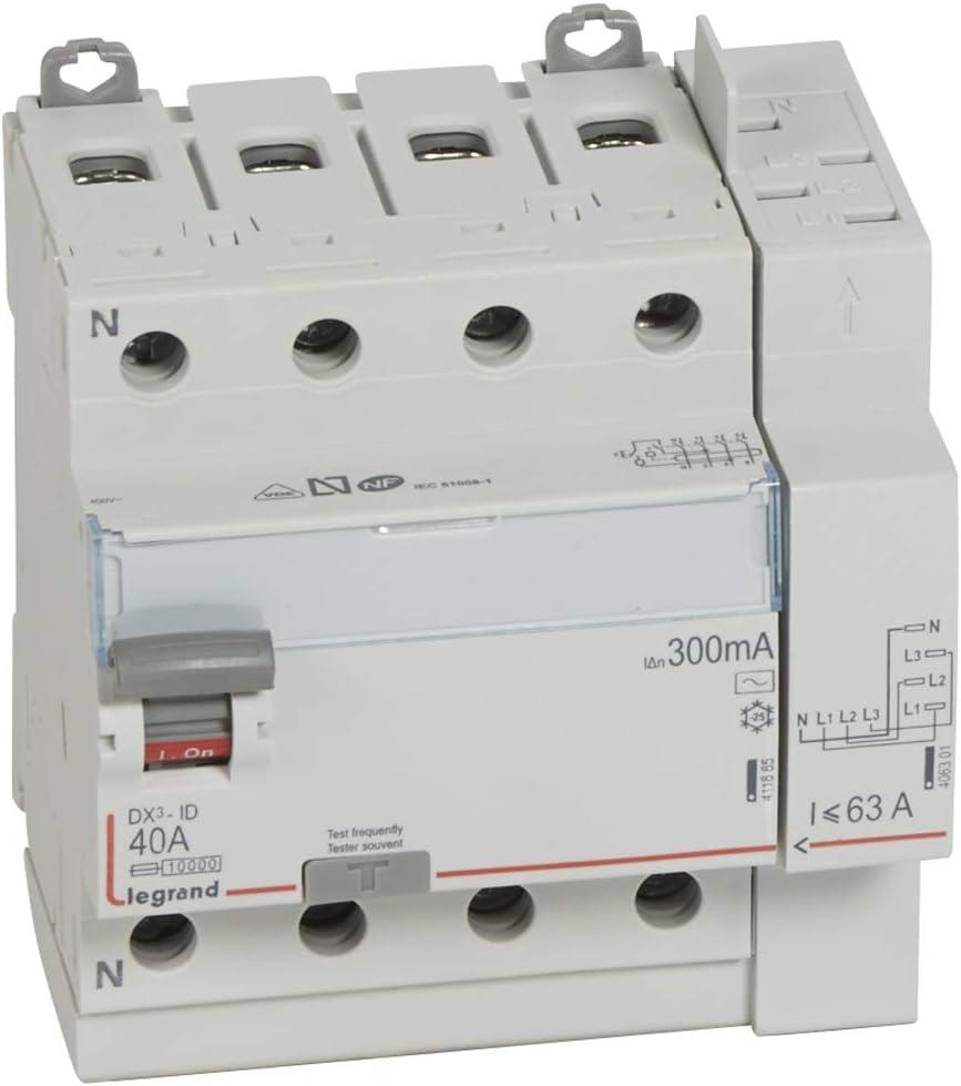 interrupteur diff/érentiel legrand dx3 40a 300ma 4 poles type ac vis auto