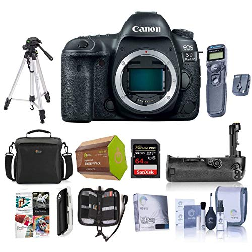 - Canon EOS 5D Mark IV DSLR Body with Canon Log - Bundle with 64GB U3 SDXC Card, Camera Case, Tripod, Spare Battery, Battery Grip, Screen Protector, Software Package and More