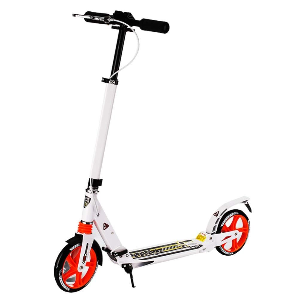 LJHBC キックスクーター ティーンキャンパススクーター 折りやすい アルミペダル 大人のキックスクーター 二重衝撃吸収 ベアリング重量120kg 高さ調節可能92-110cm 電気ではない 白