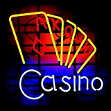 Casino Poker Game Room Neon Sign 17''x14''Inches Bright Neon Light for Store Beer Bar Pub Garage Room