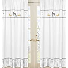 Sweet Jojo Designs 2-Piece Grey Gold and White Forest Deer and Dandelion Collection Girl or Boy Window Treatment Panels Curtains