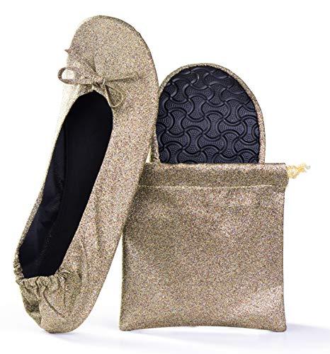 Women's Foldable Portable Travel Ballet Flat Roll Up Slipper Shoes (Medium, Bronze - Sparkle)