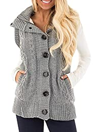 Women Zipper Sweater Sleeveless Button Pocket Casual Cardigans Thick Sweater