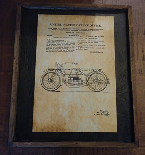1919 Patent Drawing, Harley Davidson Motor Cycle - Wooden Sign by Wooden Crow Company