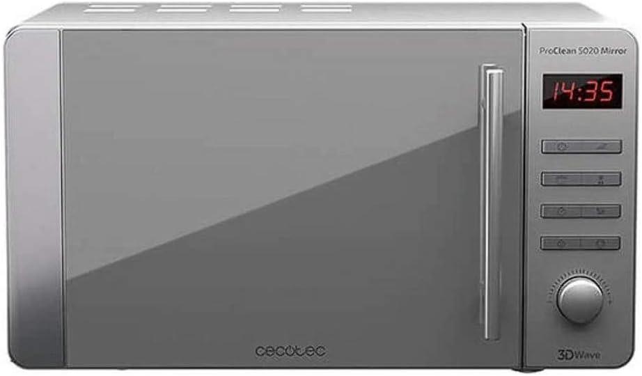 Cecotec Microondas ProClean 5020 Mirror. Capacidad de 20l, Revestimiento Ready2Clean, 700 W de Potencia, 5 Niveles Funcionamiento, 8 Programas, Temporizador 60 min, Pantalla LED