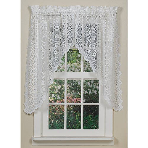 Lace Curtain Valance (Lorraine Home Fashions Hopewell Lace Window Swags, 58-Inch by 38-Inch, White, Set of 2)