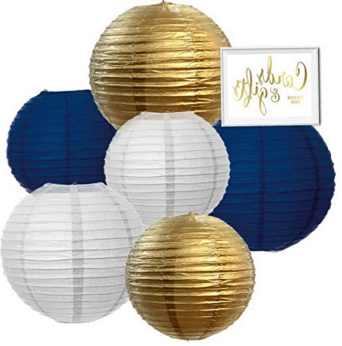 Kaputar Hanging Paper Lanterns Decor Trio Kit with Gold Sign, White, Gold, Navy Blue, 6-Pack, for Hanukkah, Nautical ding, Classroom Decorations | Model WDDNG -666