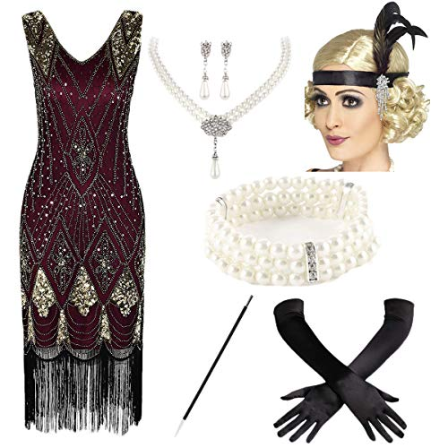 (1920s Vintage Sequin Embellished Fringe Gatsby Flapper Dress w/Accessories Set (L, Red-Gold))