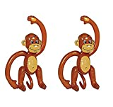 Amscan Funny Inflatable Monkey Summer Water Toy and Pool Decoration (Pack Of 2), Brown, 25 1/2
