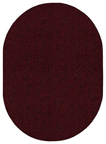 Ambiant Broadway Collection Pet Friendly Indoor Outdoor Area Rugs Burgundy – 3 x5 Oval