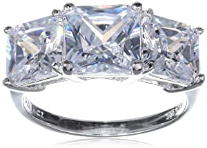 Platinum Plated Sterling Silver Princess-Cut Simulated Diamond Yesterday, Today, Tomorrow 3-Stone Ring from PAJ, Inc