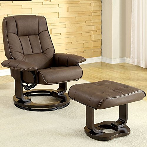 - Hokku Designs Leatherette Swivel Recliner Chair and Ottoman