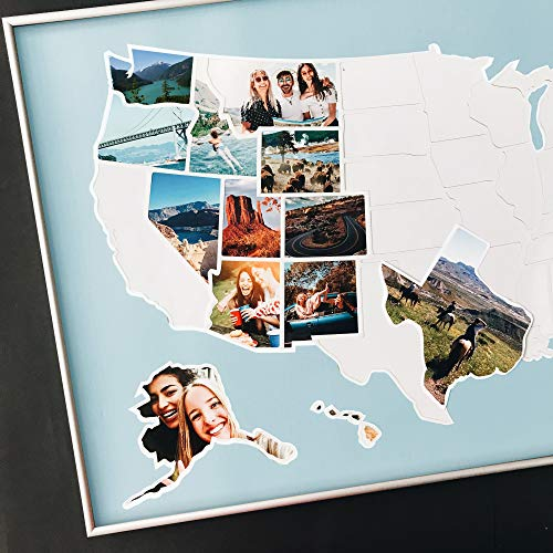 USA Photo Map - 50 States Travel Map - Blue - Fits 24 x 36 in Frames - Made from Flexible Plastic (Map Pictures)