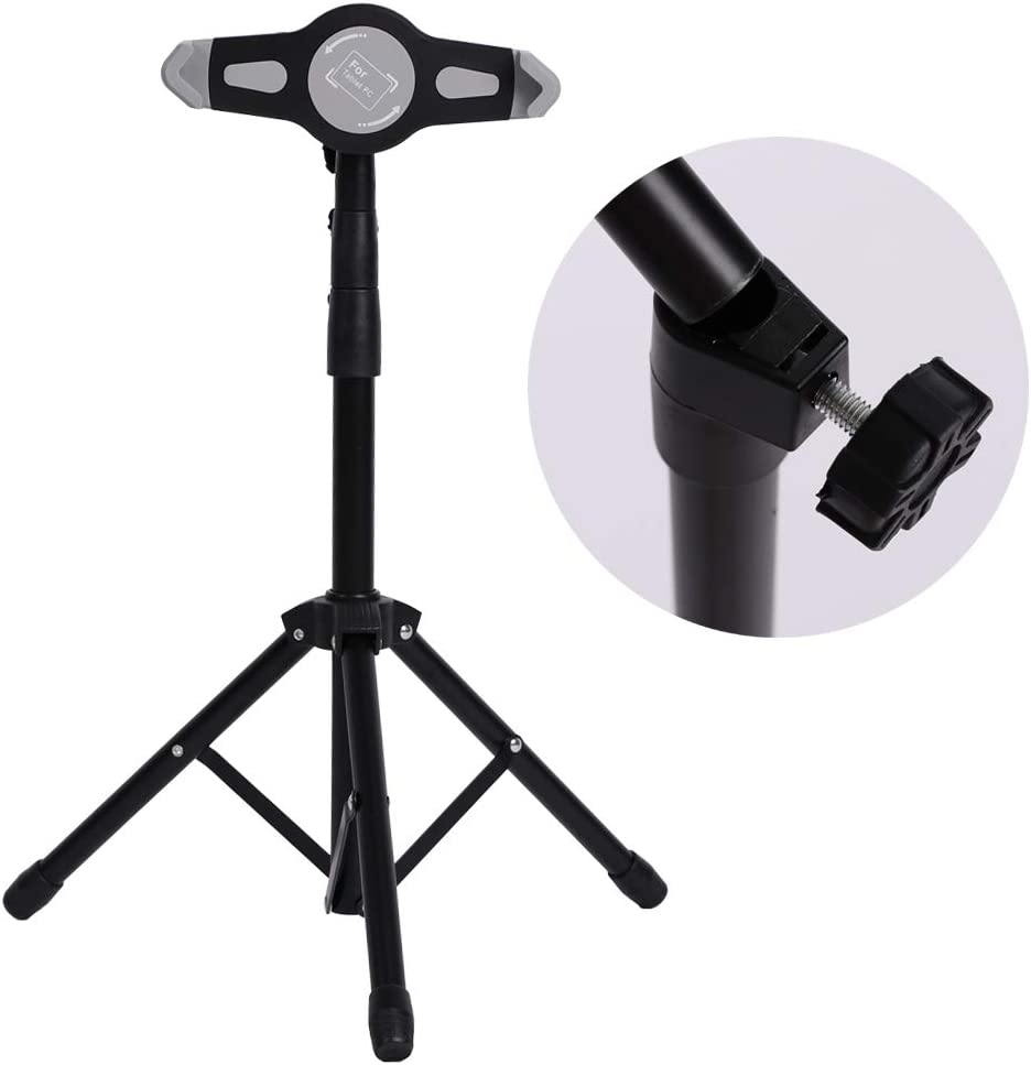 Metal Selfie Tripod Set for 7-10 inch Pad//Tablet,Extension rod Tripod+Computer Clip+Portable cloth bag,Live Broadcast Videos Stand Holder Bracket Kit for Computer,ABS lock,0.7-1.4 M adjustment