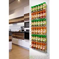 Neo® 36pc Chrome 6 Tier Spice Rack Jar Holder for Wall or Kitchen Cupboard