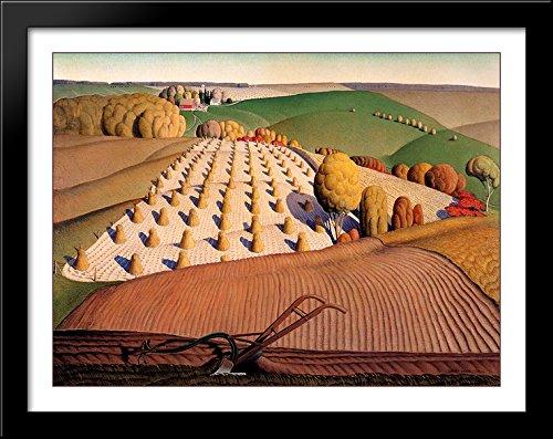 Grant Wood Prints - Fall Plowing 36x28 Large Black Wood Framed Print Art by Grant Wood