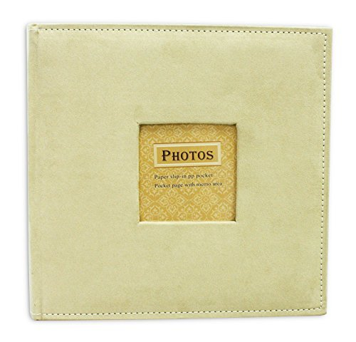 Golden State Art Photo Album Beige Suede Cover, Holds 200 4x6 Pictures by Golden State Art