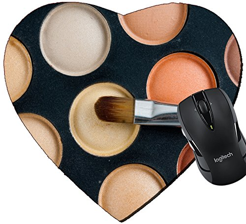Price comparison product image MSD Mousepad Heart Shaped Mouse Pads/Mat design 24348642 Makeup brushes and eyeshadow palette in beige orange tones cosmetics close up
