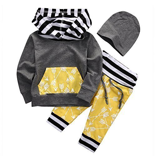 Baby Boys Arrow Pattern Long Sleeve Hoodie T-shirt Top and Long Pants Outfit Set (70 (0-6M), (Seventies Costume Patterns)