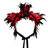 L'vow Victorian Real Natural Feather Shrug Shawl Shoulder Wrap Cape Gothic Collar (Red)