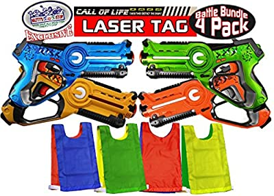 """Matty's Toy Stop """"Call of Life"""" Infrared (IR) Tag Blasters for Kids Red, Green, Blue & Yellow Deluxe Gift Set Battle Bundle with 4 Reversible Team Vests - 4 Pack"""