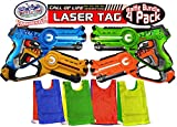 Matty's Toy Stop 'Call of Life Infrared (IR) Tag Blasters for Kids Red, Green, Blue & Yellow Deluxe Gift Set Battle Bundle with 4 Reversible Team Vests - 4 Pack (Infrared 0.9mW)