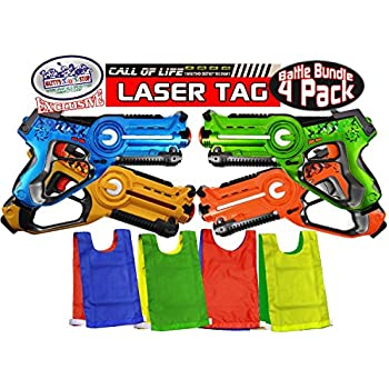 """Matty's Toy Stop """"Call of Life"""" Infrared (IR) Laser Tag Blasters for Kids Red, Green, Blue & Yellow Deluxe Gift Set Battle Bundle with 4 Reversible Team Vests - 4 Pack"""