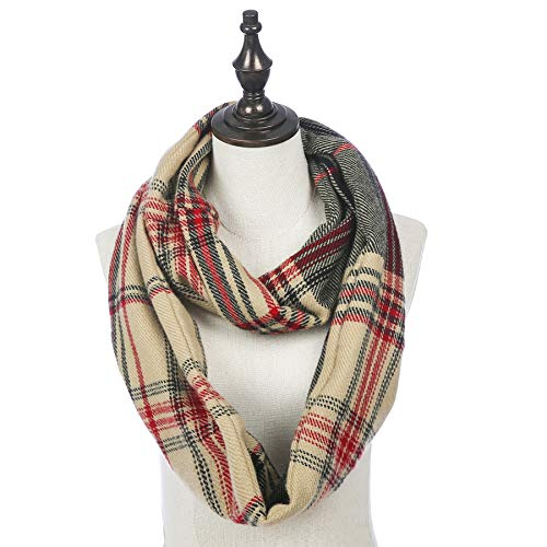Infinity Scarf With Zipper Pocket For Women Girls - Plaid Velvet Soft Stretchy Travel Scarves (Plaid-Brown)