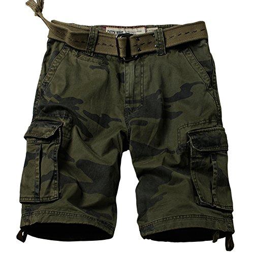 AUSZOSLT Men's Classic Multi Pocket Slim Fit Cotton Twill Casual Cargo Shorts 2608# F Camo (Cotton Twill Sport Short)