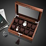 TRE Elm Ulmus purple pure solid wood quality skylight watch box/ mechanical watch storage box collection/jewelry box with lock-B