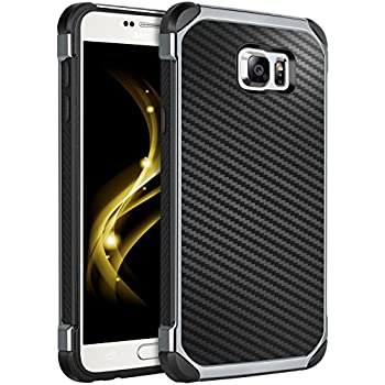 Case for Galaxy Note 5,Note 5 Case,BENTOBEN Shockproof 2 in 1 Hybrid Hard PC Flexible TPU Bumper Chrome Carbon Fiber Texture Protective Case for Samsung Galaxy Note 5 2015, Black