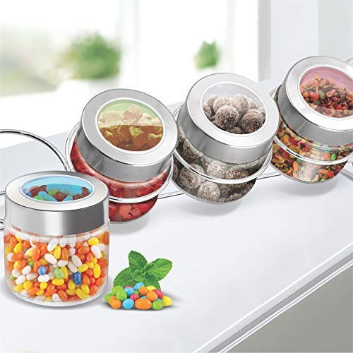 Treo by Milton Delfy Storage Glass Jar Translucent Colour Lid with Metal Stand, Set of 4 Price & Reviews