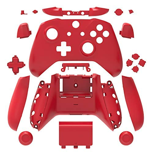 eLUUGIE Replacement Matte Housing Full Shell Set Faceplates ABXY Buttons RB LB Bumpers + Right/Left Rails for Xbox One S Slim Controller (3.5 mm Headphone Jack) S Controller Repair Parts (Red)