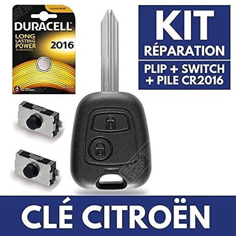 Caja llave – Carcasa de mando a distancia Plip Citroen Saxo Xsara Picasso Berlingo C1 C2 C3 ✚ pila CR2016 Duracell