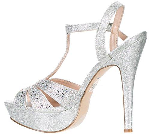 Deblossom Blossom Donna Vice-126-233 Da Sposa Festa Formale Da Sera Cinturino Alla Caviglia Tacco Alto Peep Toe Glitter Sandalo Argento Cinturino