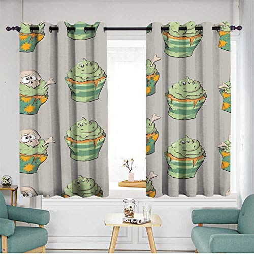 Fbdace Window Blackout Curtains Seamless Halloween Party Pattern Wrapping with Decorations Insulated with Grommet Curtains for Bedroom W 63
