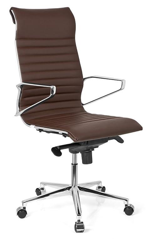 Schreibtischstuhl ergonomisch  hjh OFFICE 720023 Bürostuhl Chefsessel PARIBA I Echt-Leder Braun ...