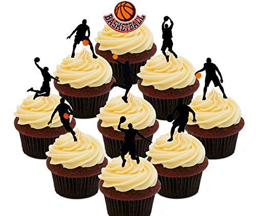 Juego de baloncesto de fiesta – comestible cupcake toppers – Pie oblea decoraciones para tartas, Pack of 36