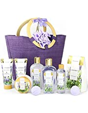 Spa Luxetique Gift Baskets for Women, Spa Gifts for Women - 10pcs Lavender Bath and Body Gift Set with Bath Bomb, Body Lotion, Bubble Bath, Relaxing Spa Baskets for Women, Gifts for Mom, Gifts for Her